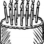 Birthday Cake Draw Coloring Page