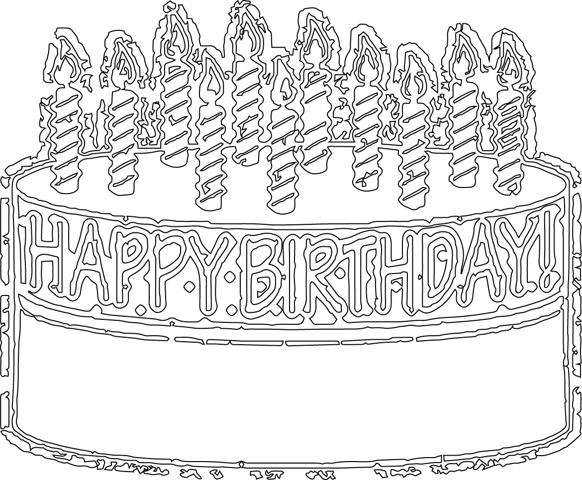Birthday Cake Outline Line Coloring Page Wecoloringpage