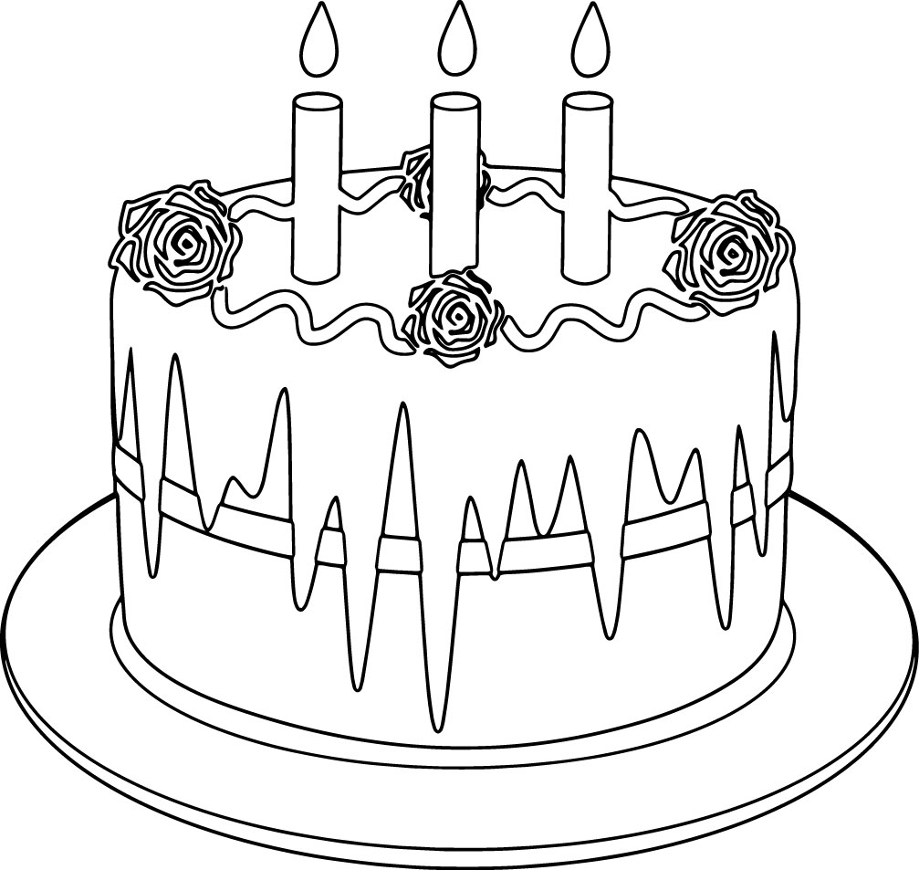 coloring pages of birthday cakes - birthday cake rose coloring page