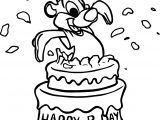 Birthday Cake Squirrel Coloring Page