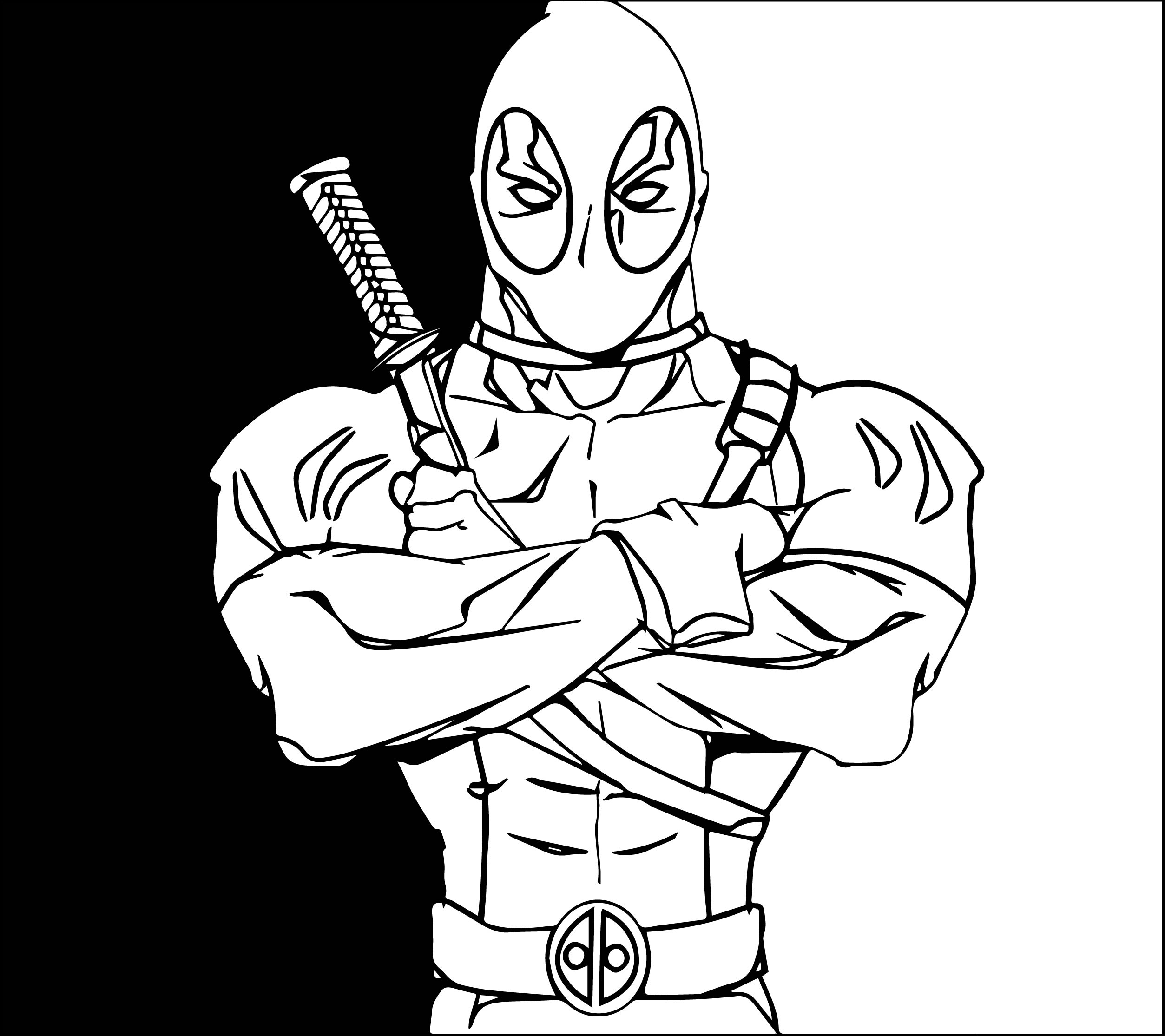 Deadpool Coloring Pages: Black White Deadpool Coloring Page