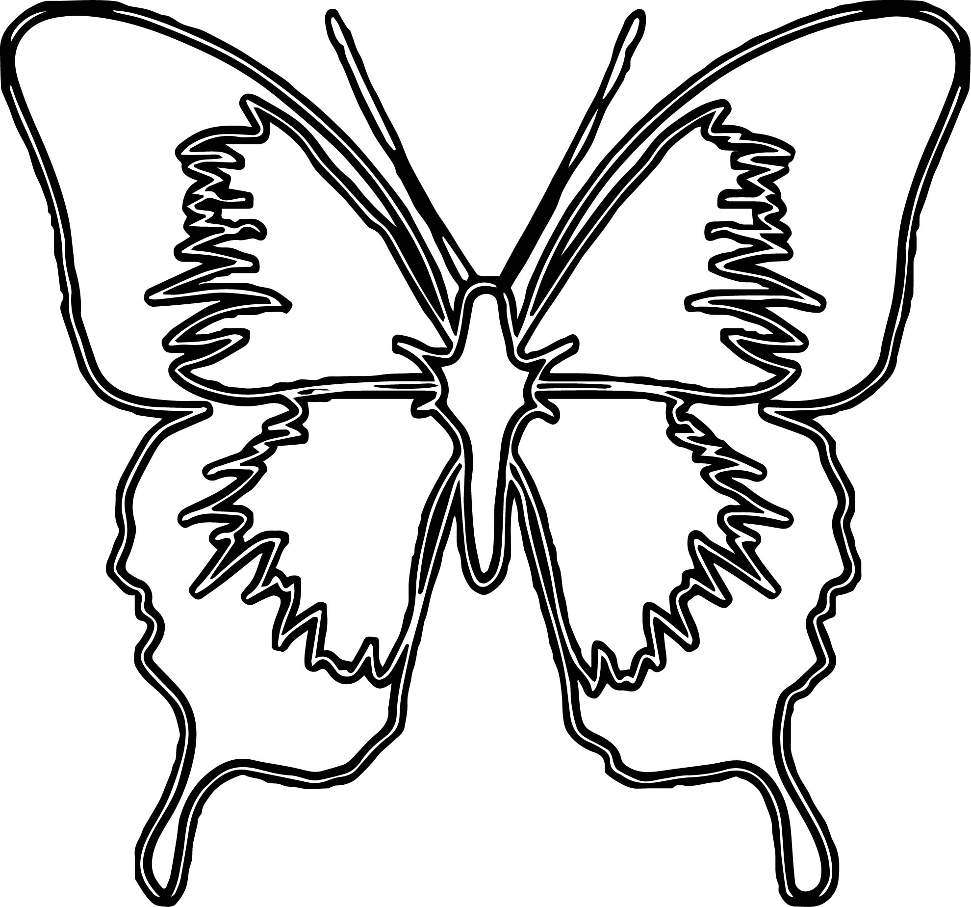 Blue Butterfly Medium Coloring Page