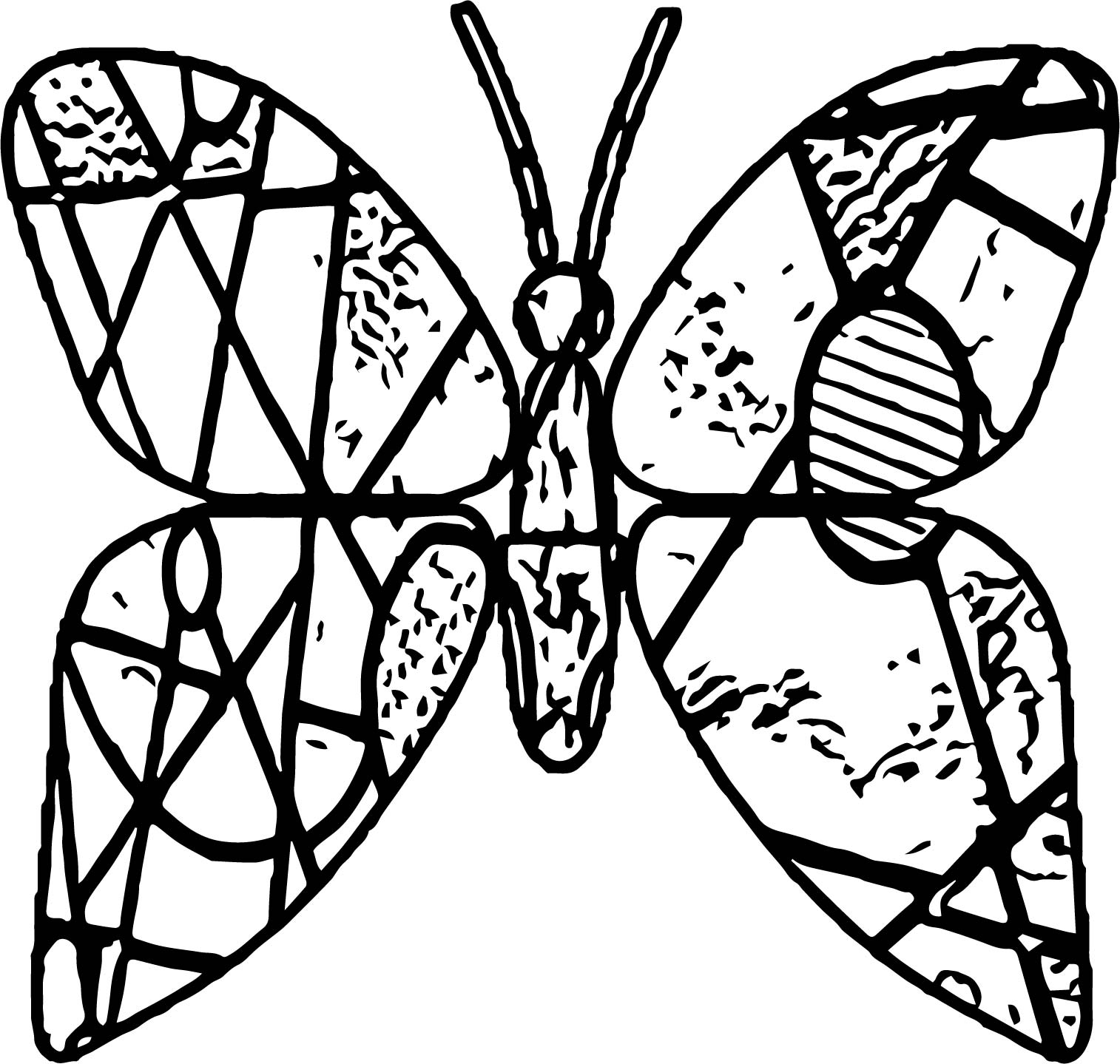 Butterfly Stained Glass Coloring Page Wecoloringpage Com