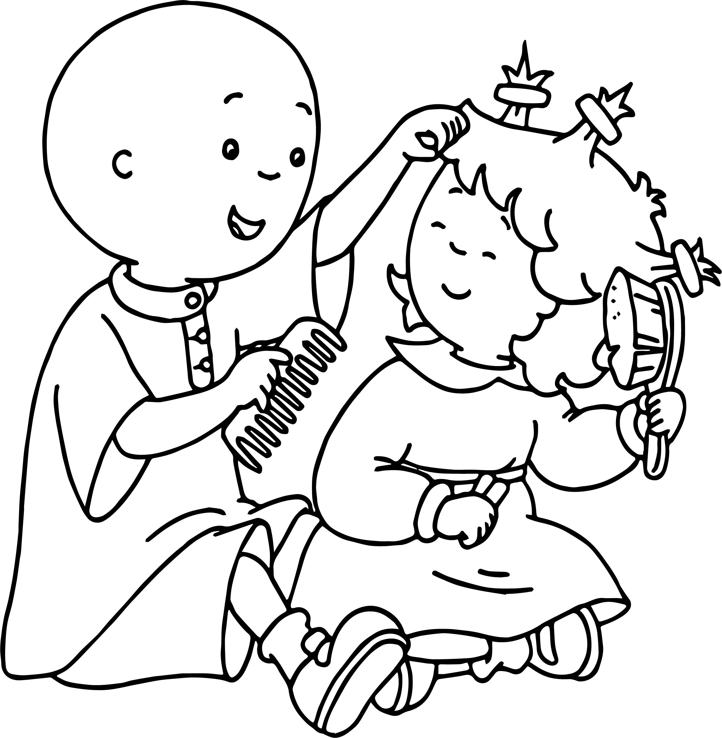 Caillou And Girl Playing Hair Coloring Page