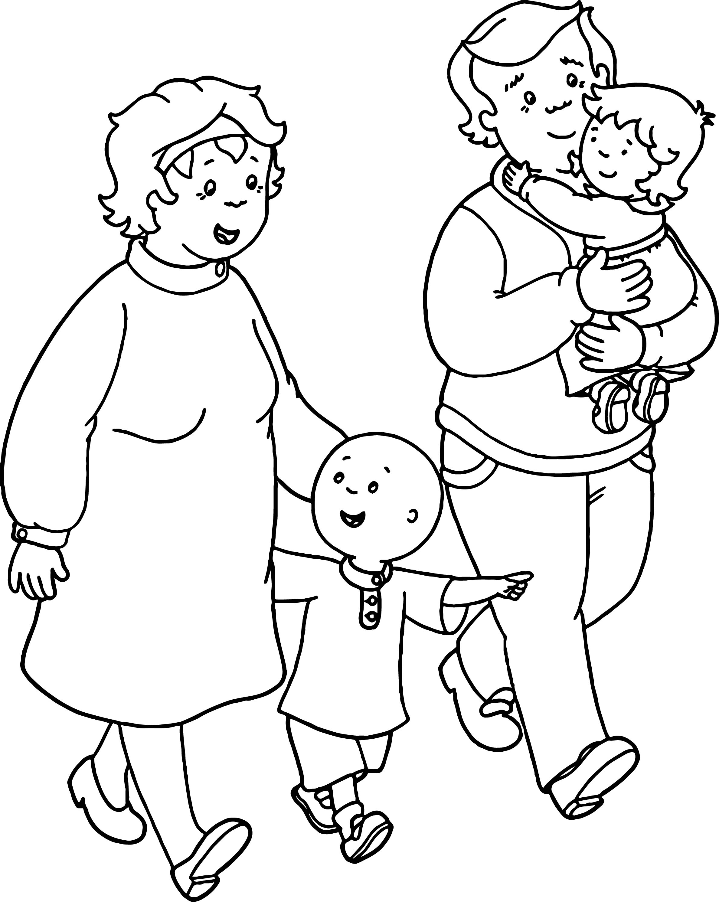 coloring pages of families - caillou family coloring page