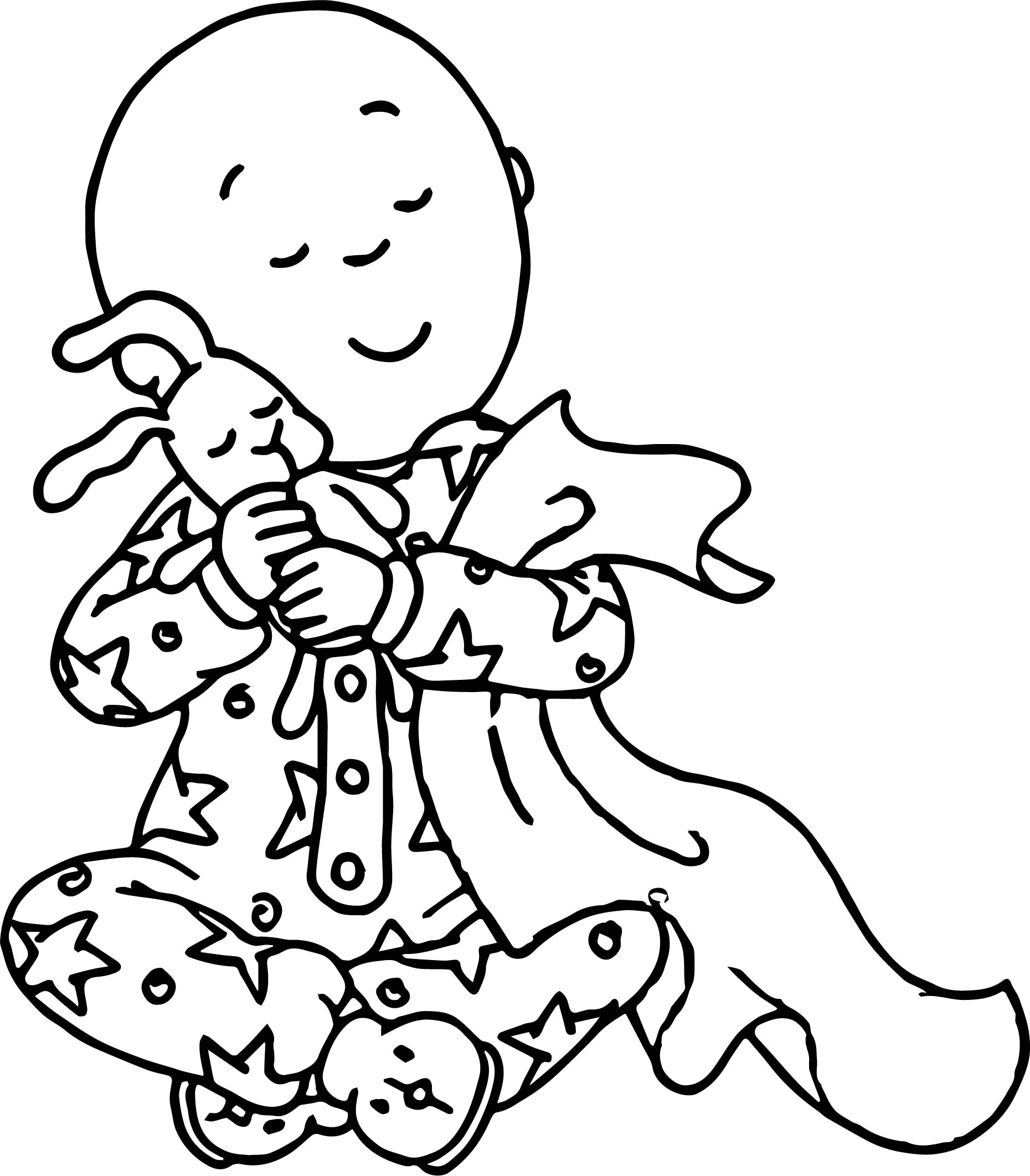 Caillou Love Toy Bunny Coloring Page | Wecoloringpage.com