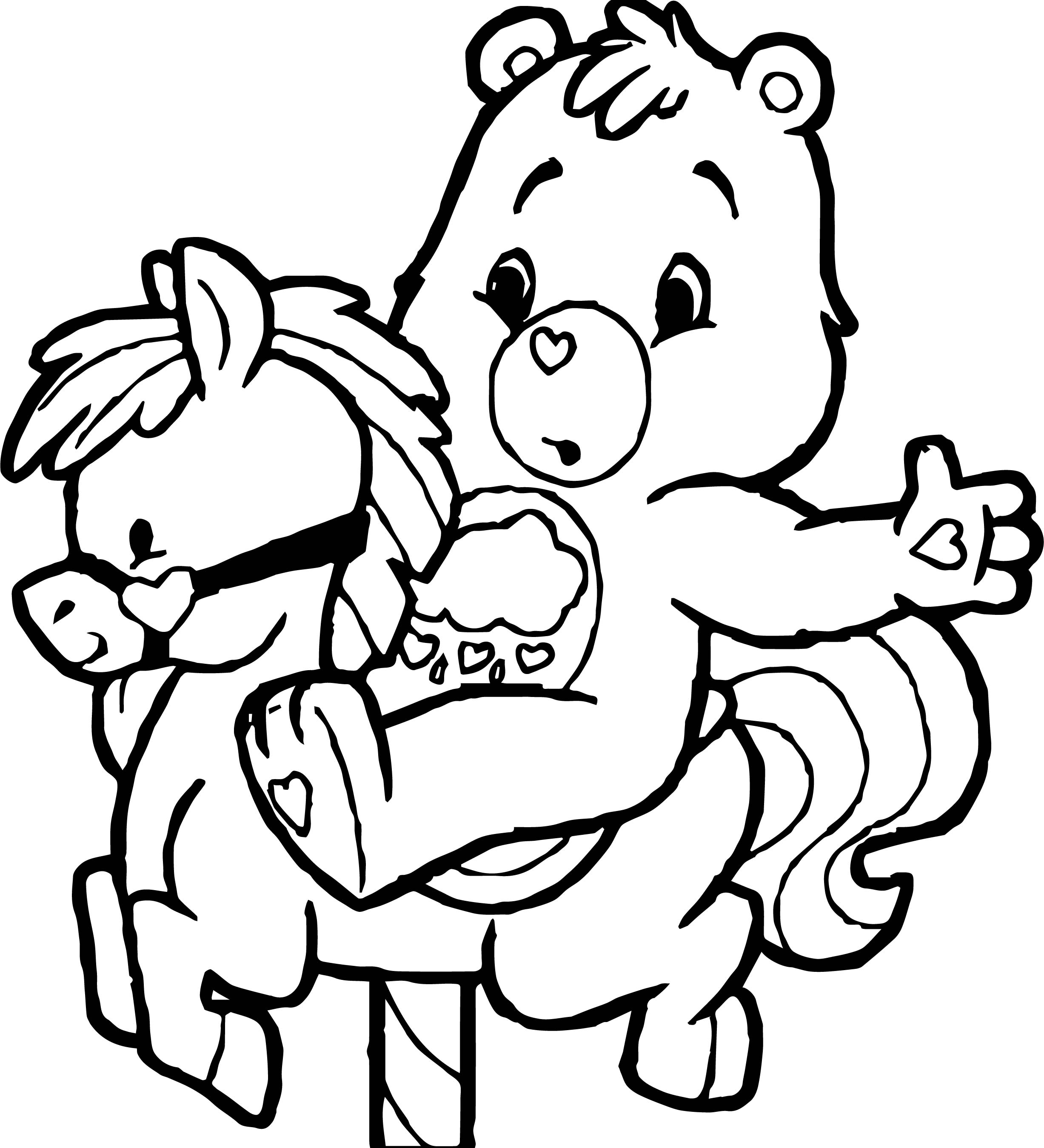 Care Bears Horse Adventures in Care A Lot Coloring Page
