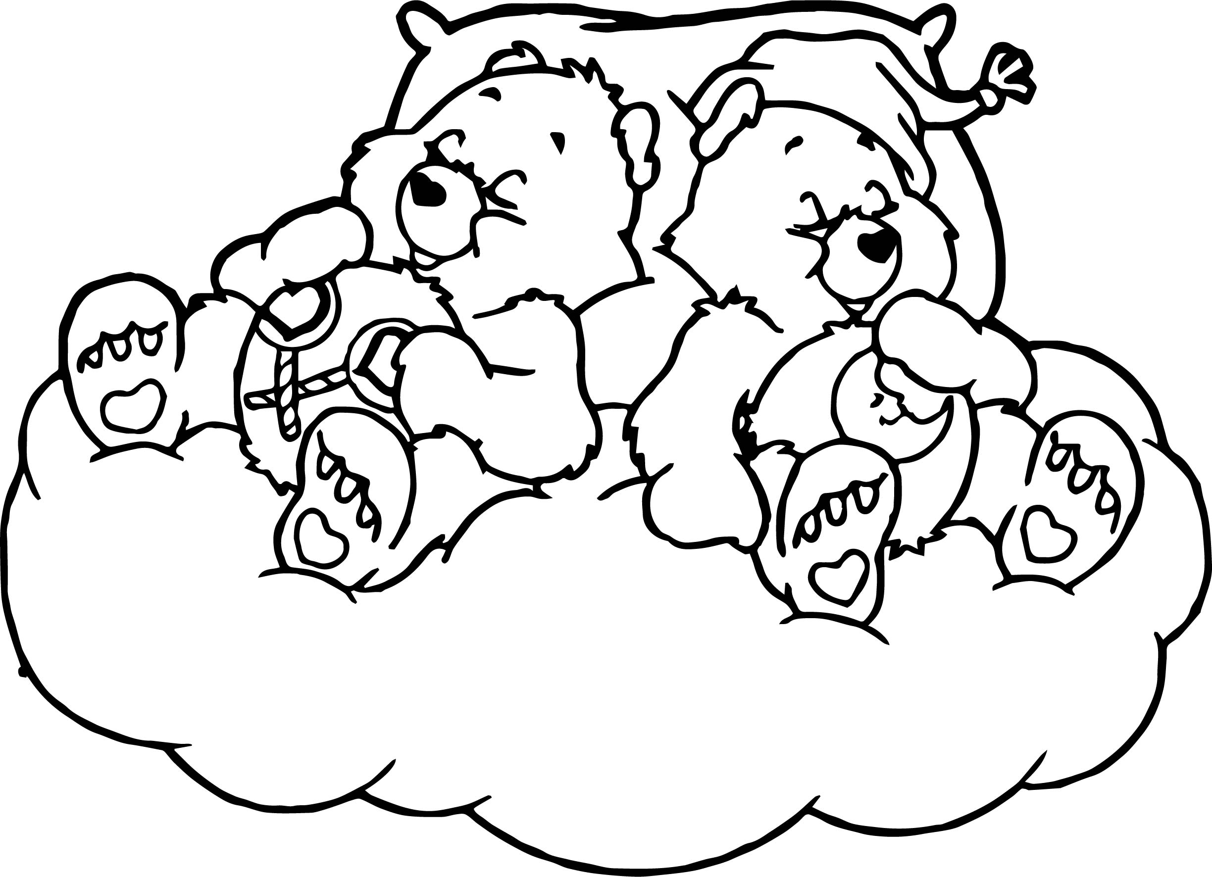 Care Bears Sleeping Bed Coloring Page