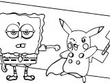 Cartoon Avengers Sunger Bob And Pikachu Coloring Page