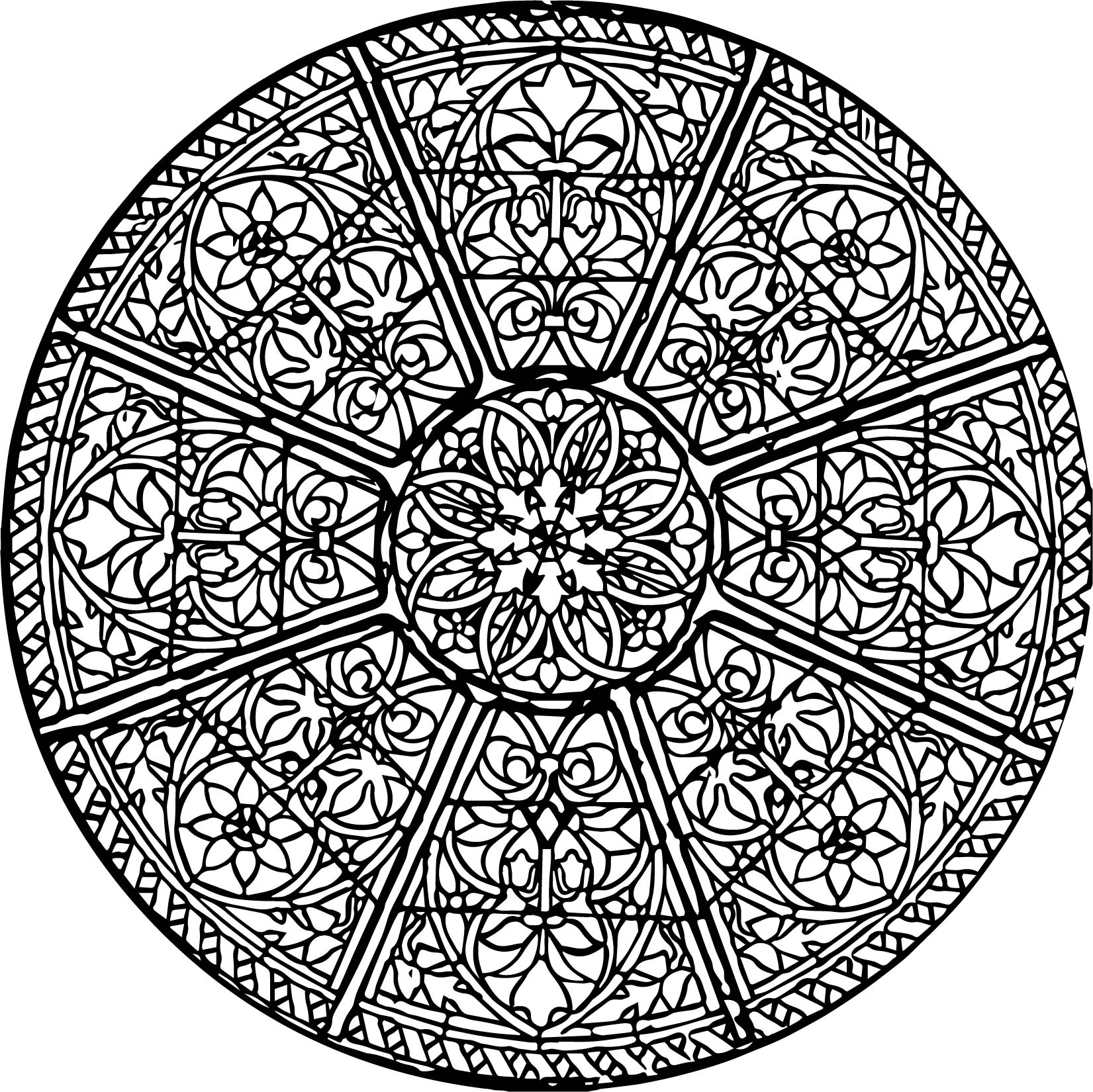 Circular Church Stained Glass Window Coloring Page