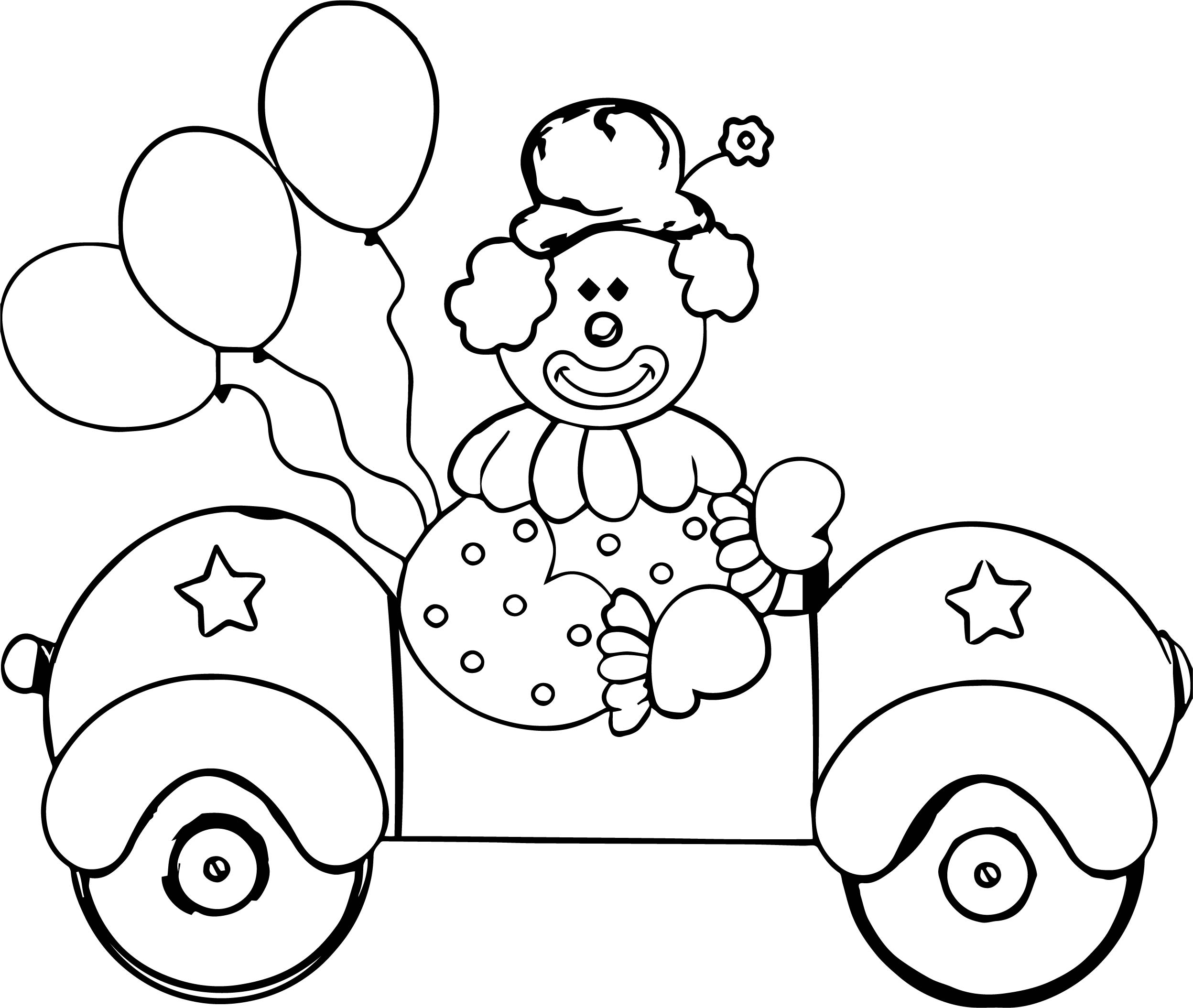 coloring pages clown - clown car coloring page