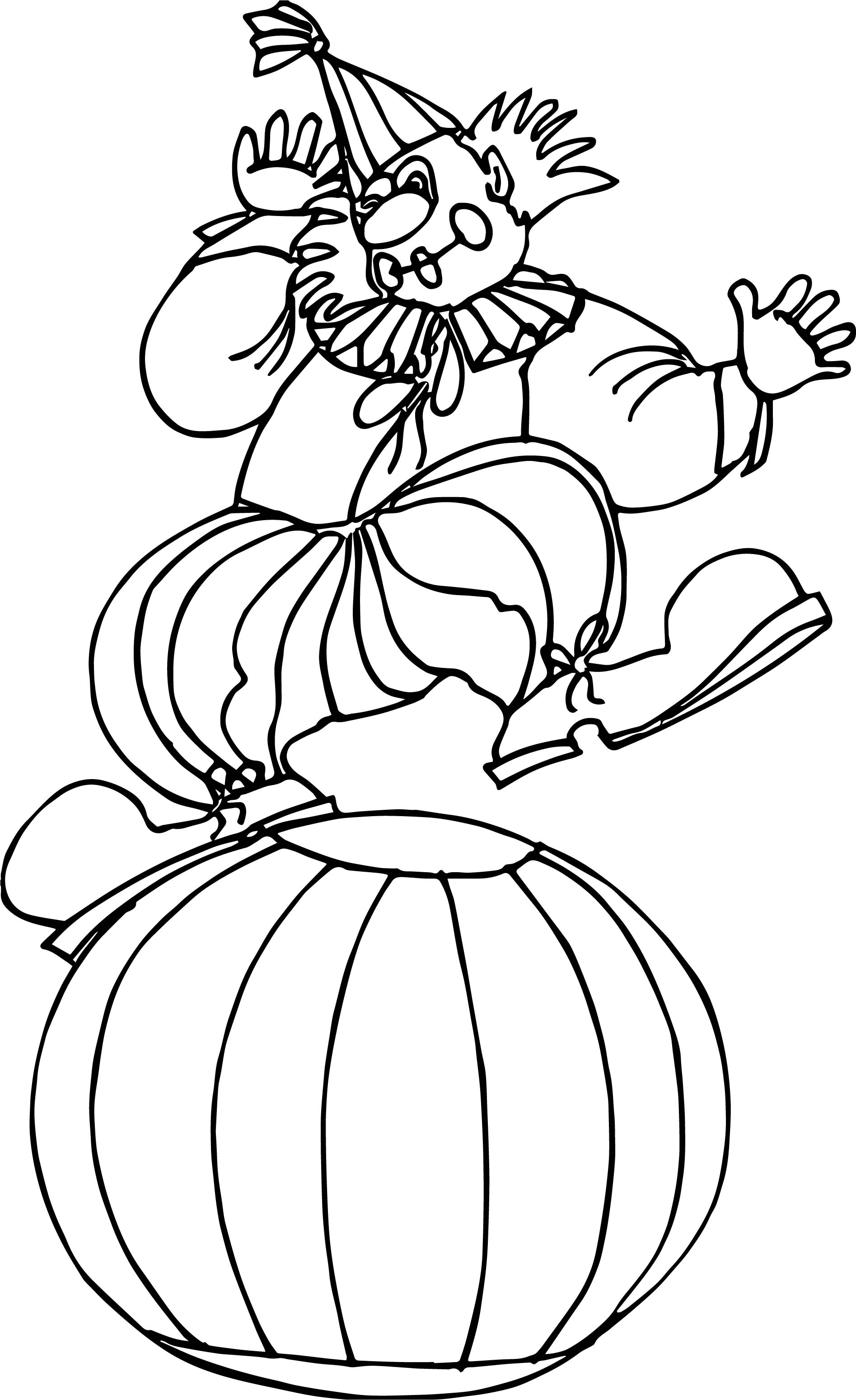 Clown On Ball Coloring Page | Wecoloringpage