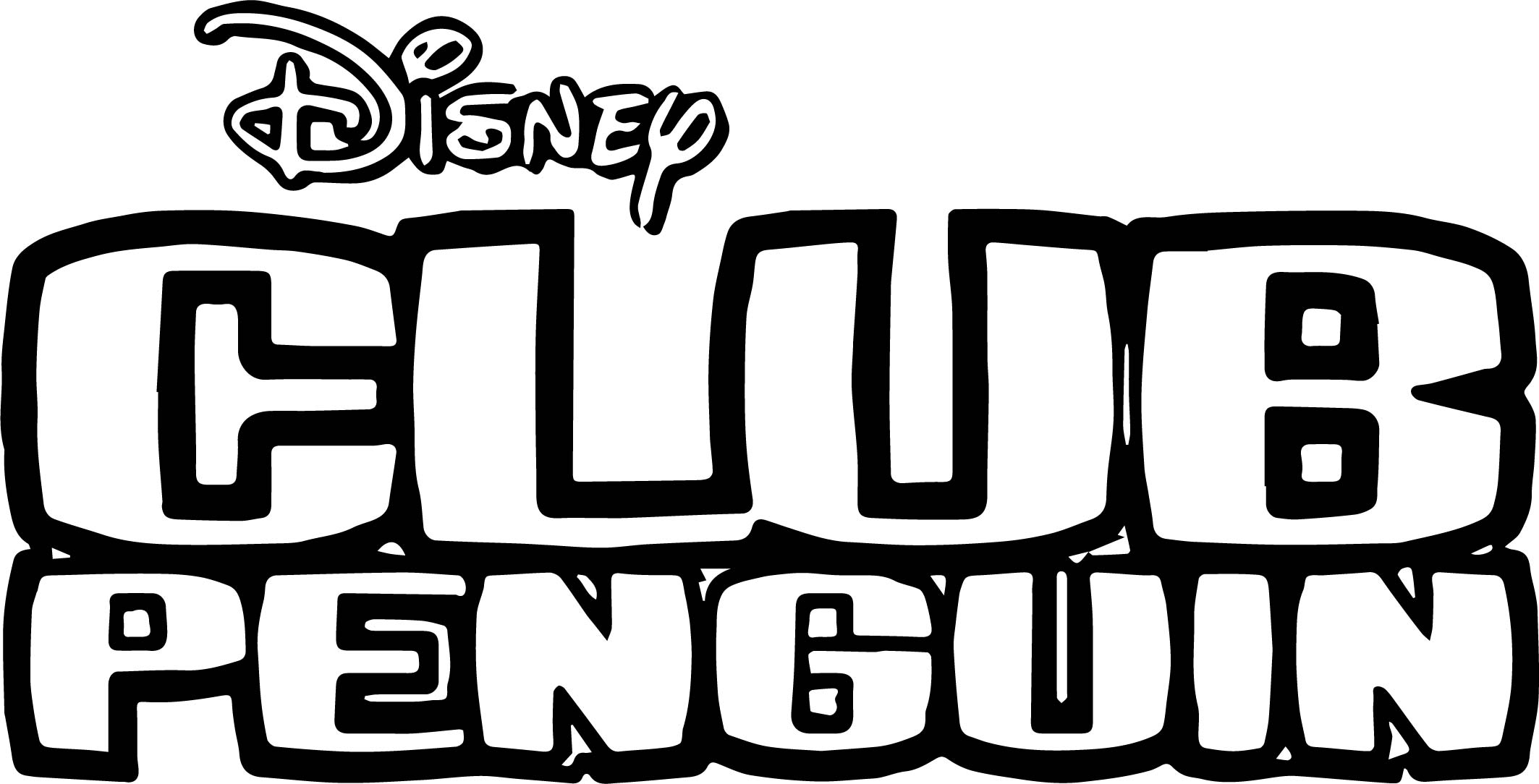 Club Penguin Bold Text Coloring Page
