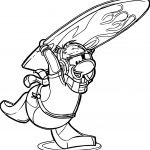 Club Penguin Surfing Coloring Page