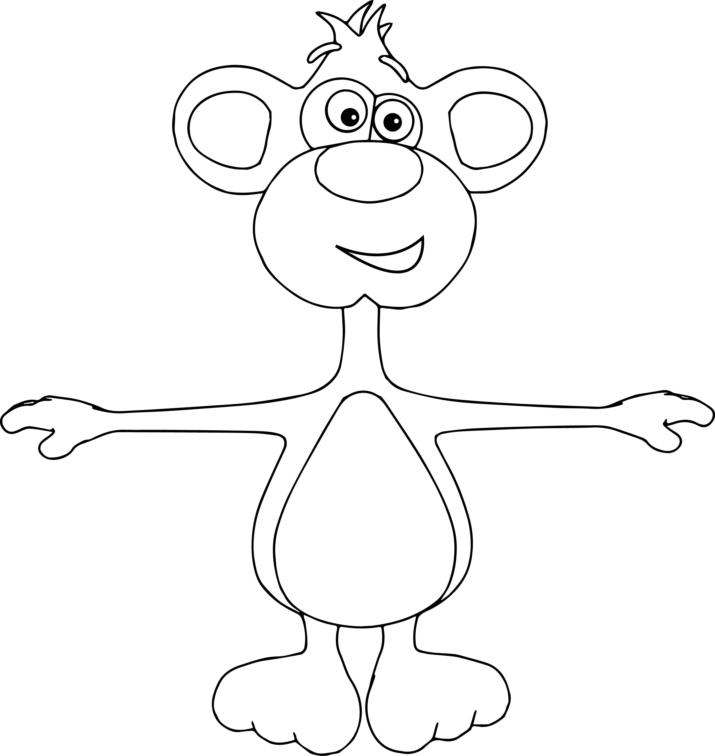 Comic Cartoon Funny Monkey Coloring Page