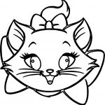 Cute Beautiful Cat Face Coloring Page