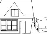 Cute Cartoon House And Car Coloring Page