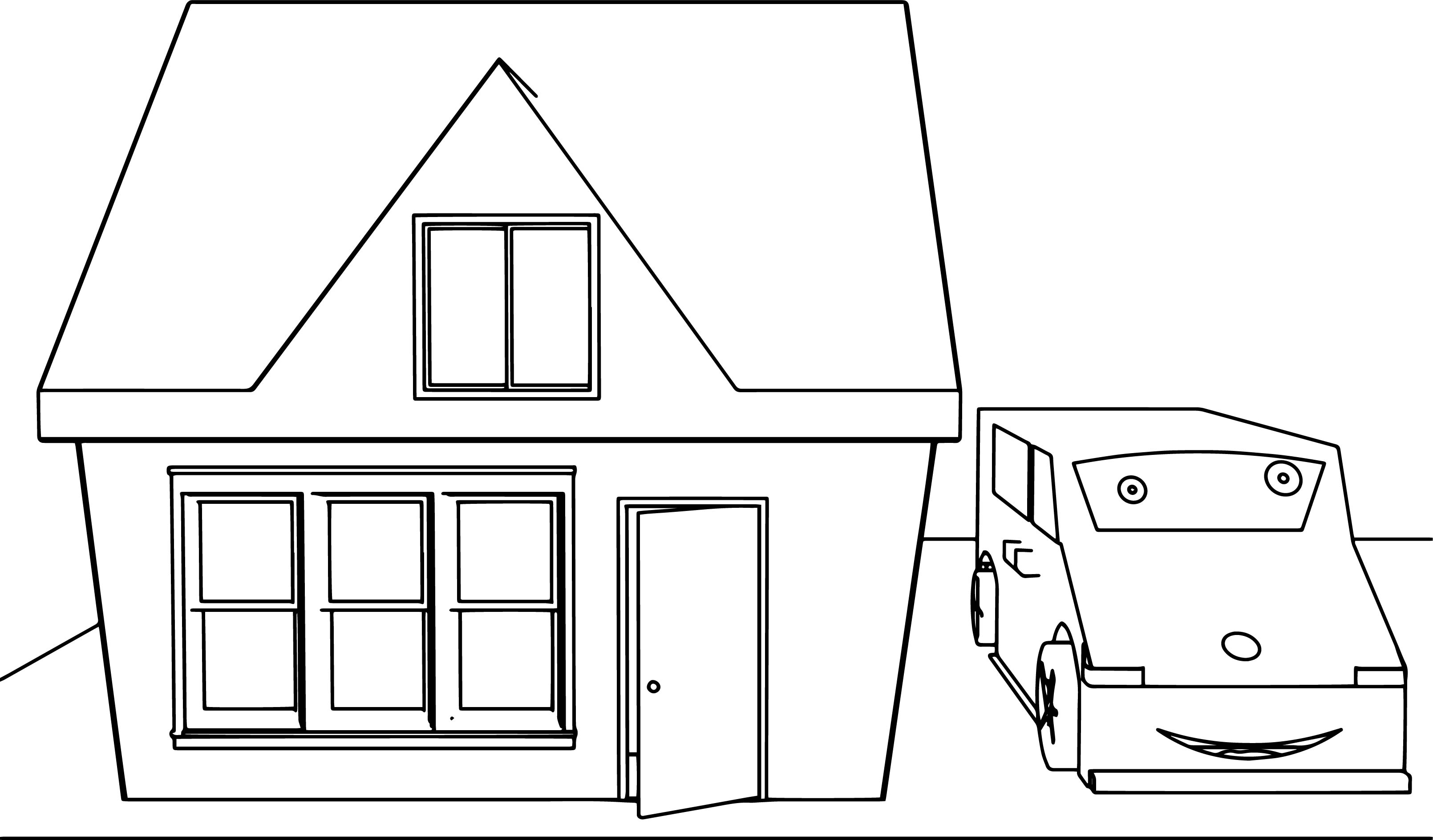 Cute Cartoon House And Car Coloring Page Wecoloringpage Com