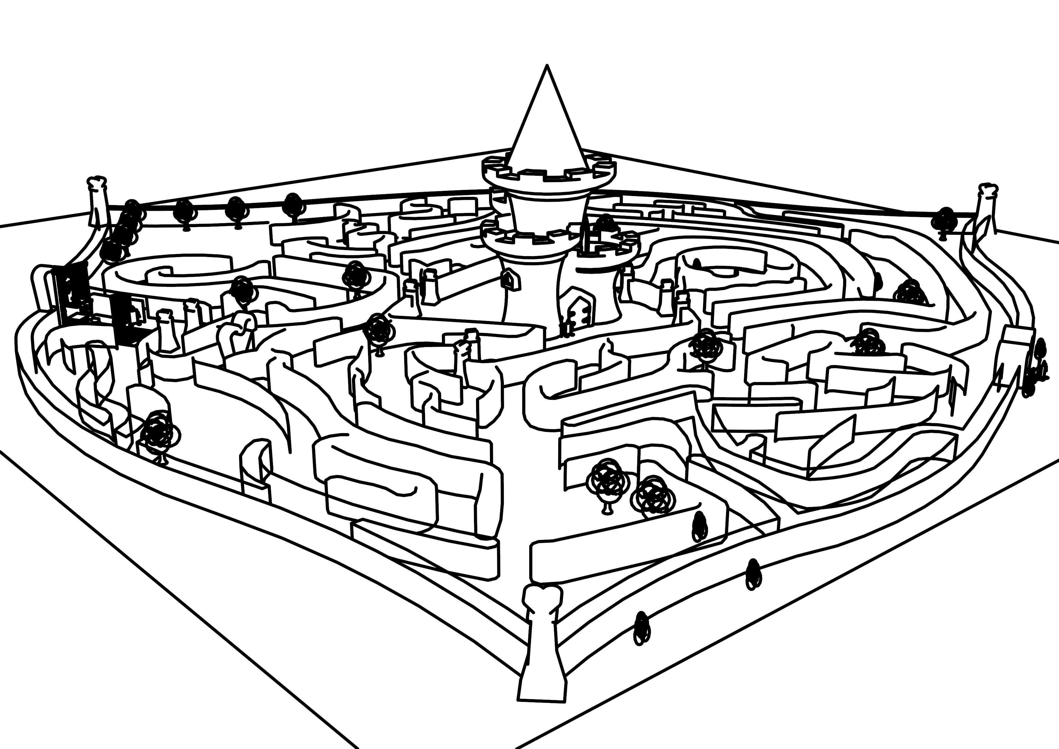 Disney Alice In Wonderland Queen Of Heart Castle And Maze Coloring ...