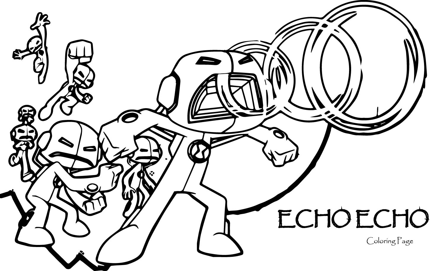 Echo echo ben 10 alien force coloring page for Coloring pages of ben 10 aliens
