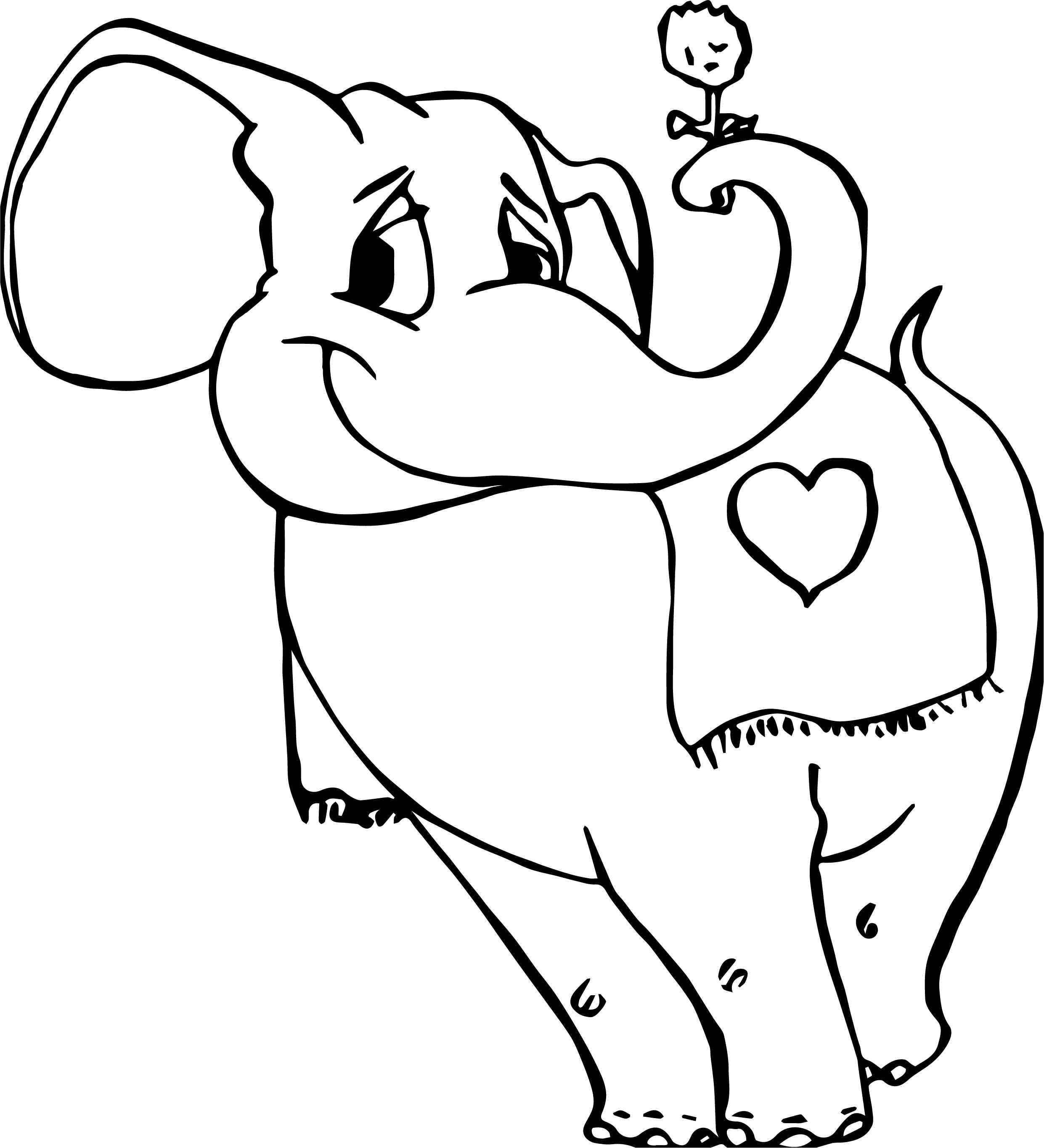 Elephant With Flower Coloring Page