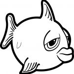 Fatigue Cartoon Fish Coloring Page Sheet