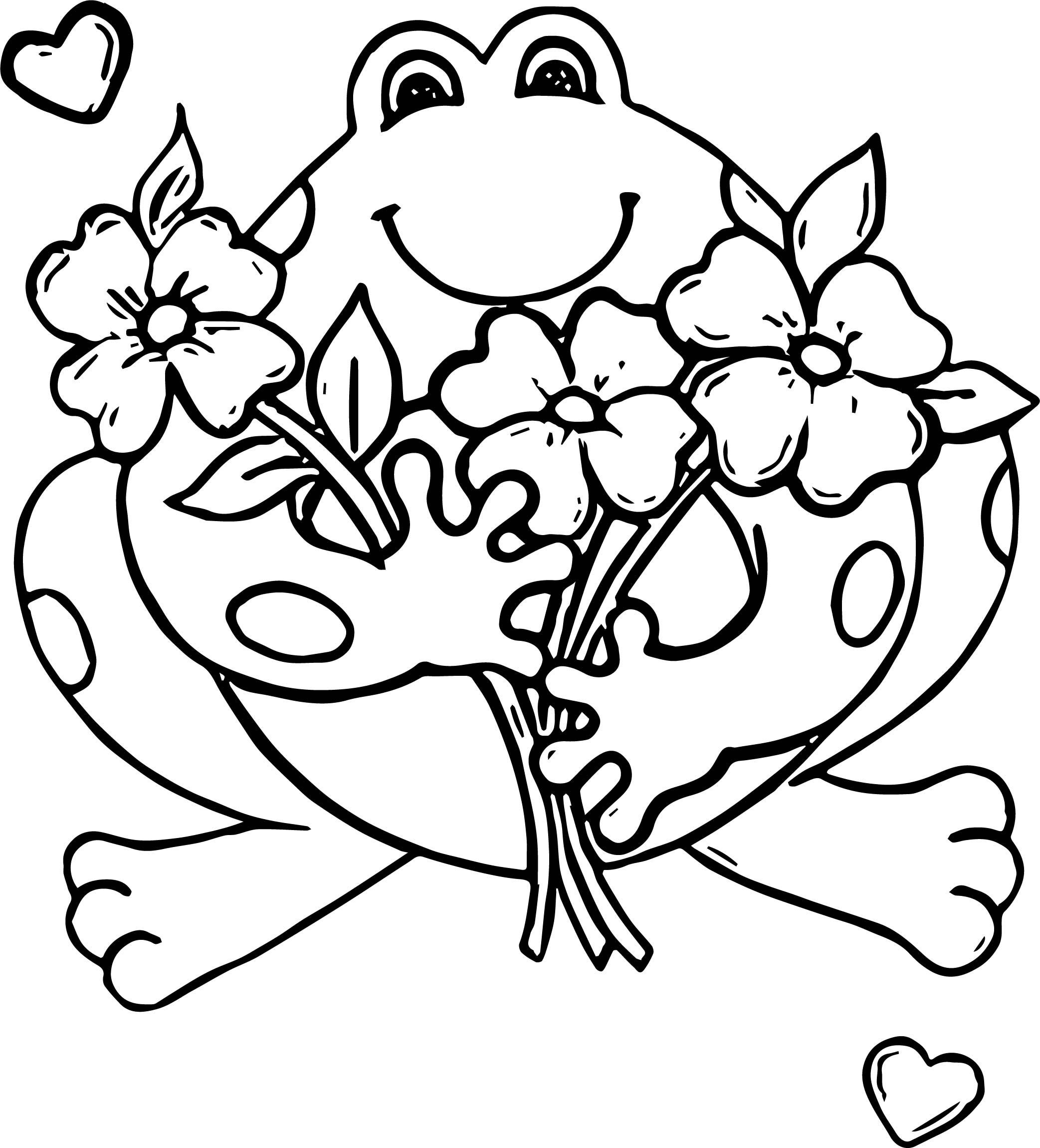 Flower Frog Coloring Page