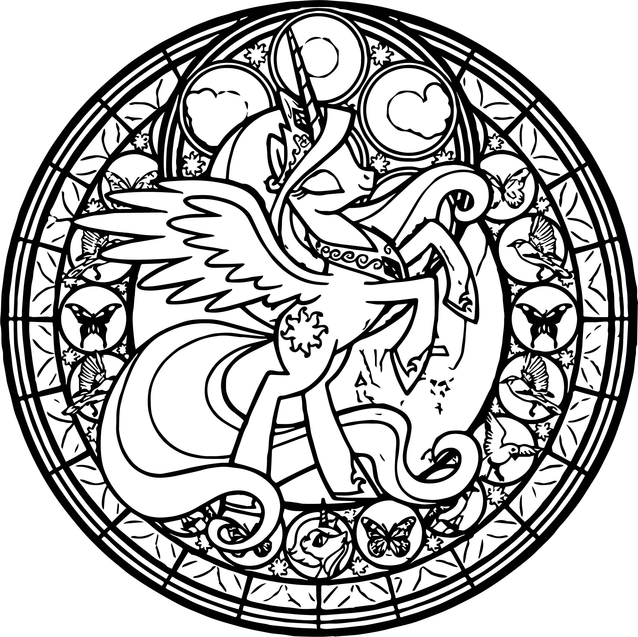 Fly Girl Horse On Circle Coloring Page