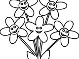 Free Spring Five Flowers Coloring Page