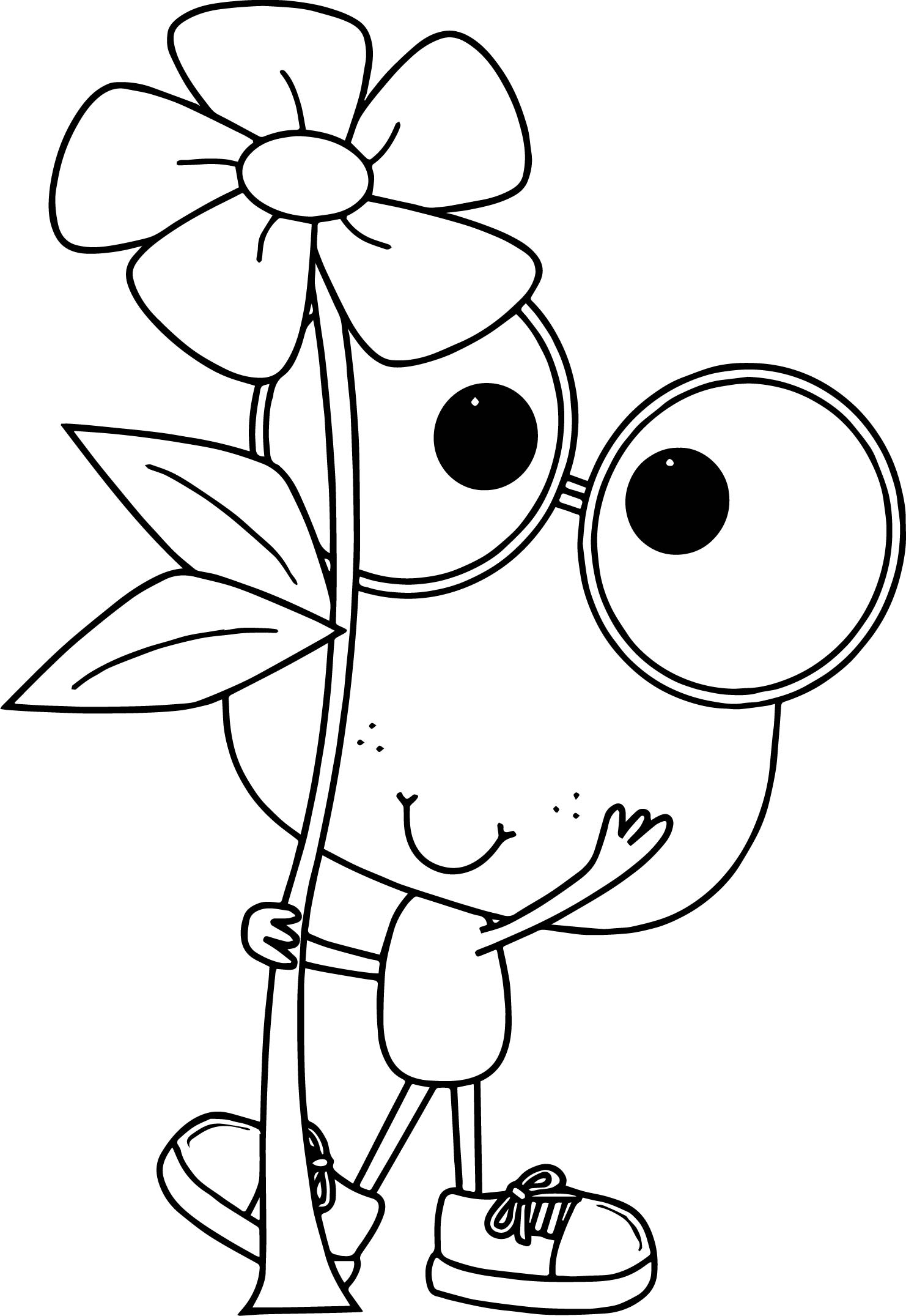 Frog Holding Flower Coloring Page