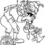 Gepetto Pinocchio Figaro Cleo Family Group Coloring Page