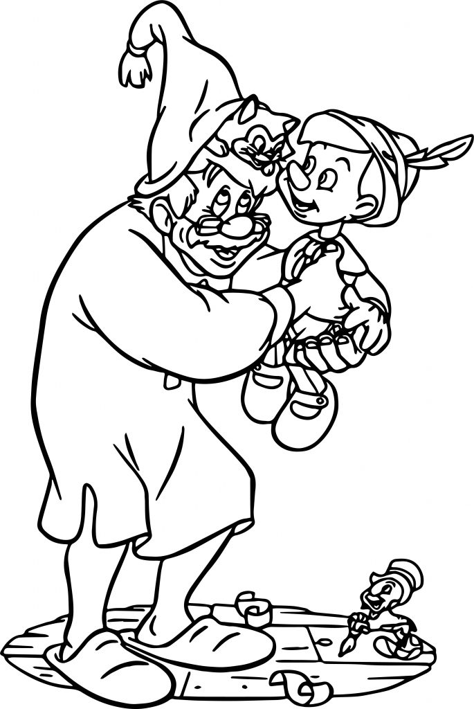 Geppetto Family Coloring Page | Wecoloringpage