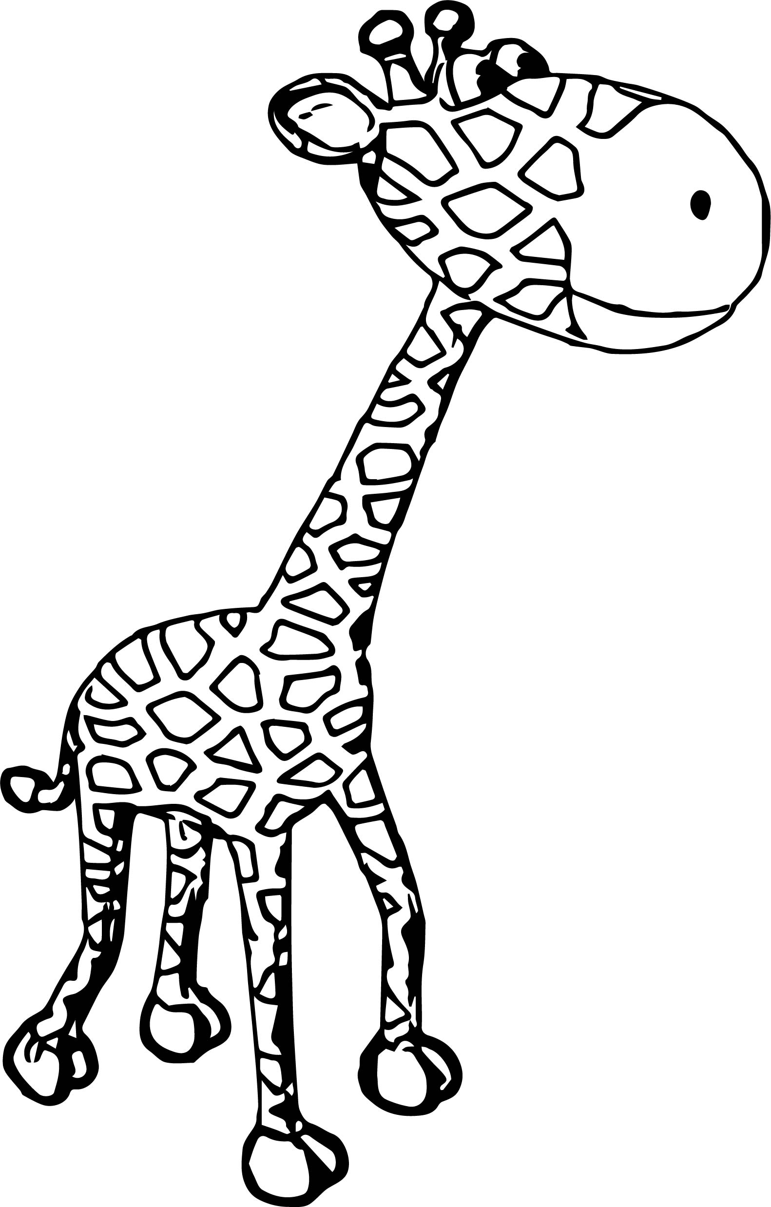 cartoon giraffe coloring pages - giraffe perspective coloring page