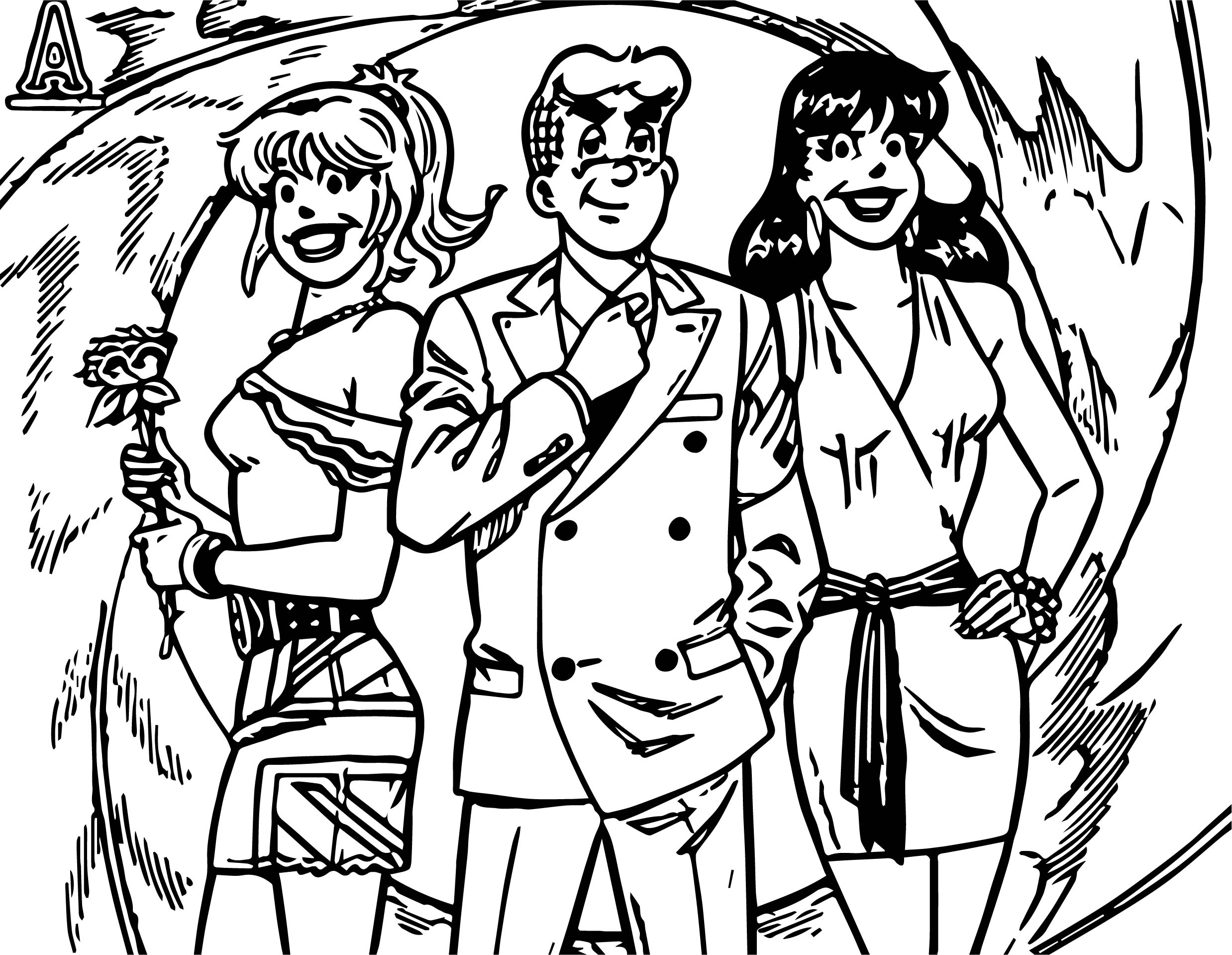 Girls And Archie Comics Coloring Page