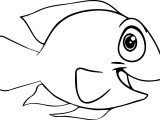 Good Cartoon Fish Coloring Page Sheet