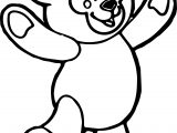 Happy Bear Standing Coloring Page