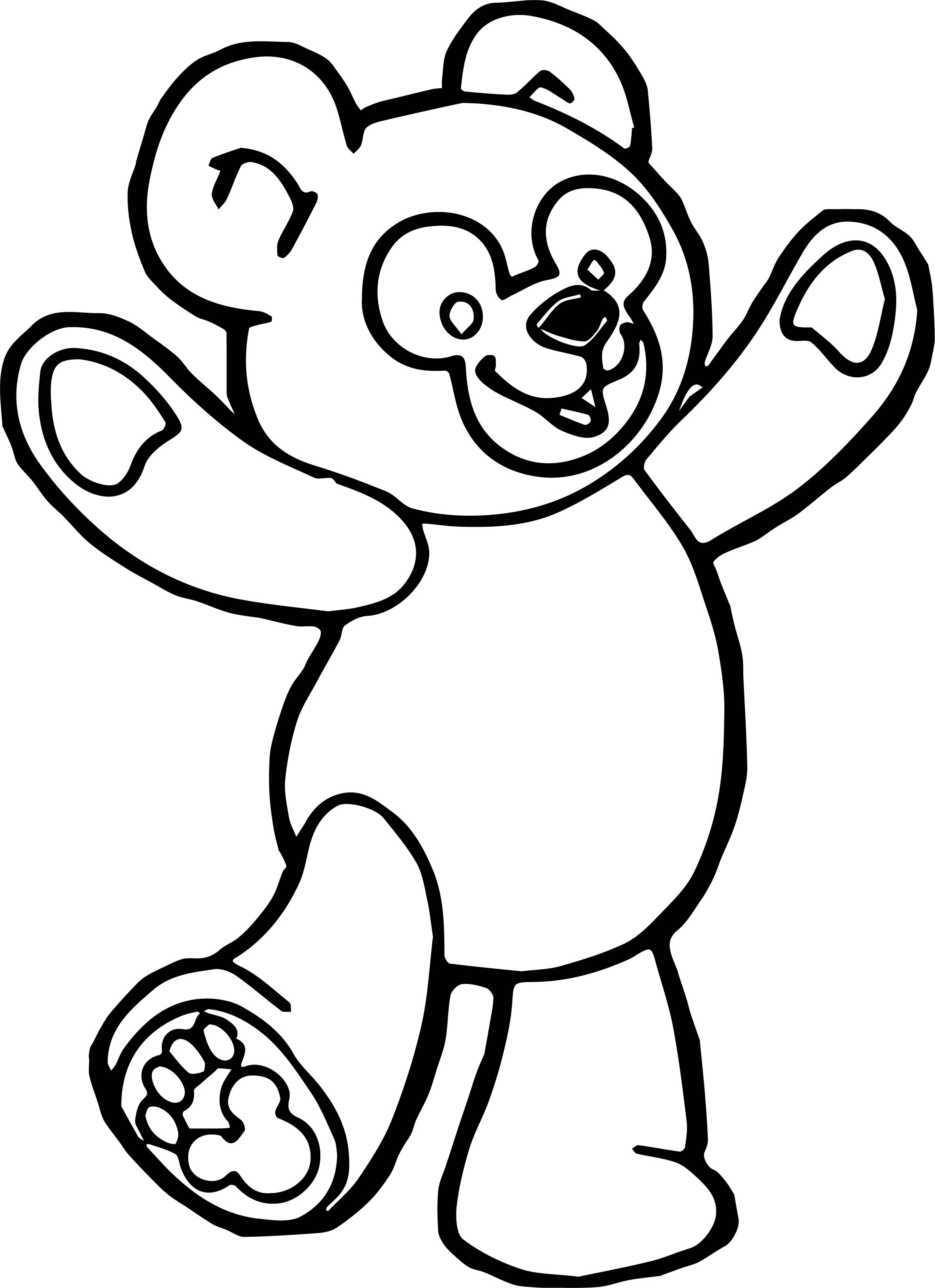 Cartoon standing bear coloring pages ~ Happy Bear Standing Coloring Page | Wecoloringpage.com