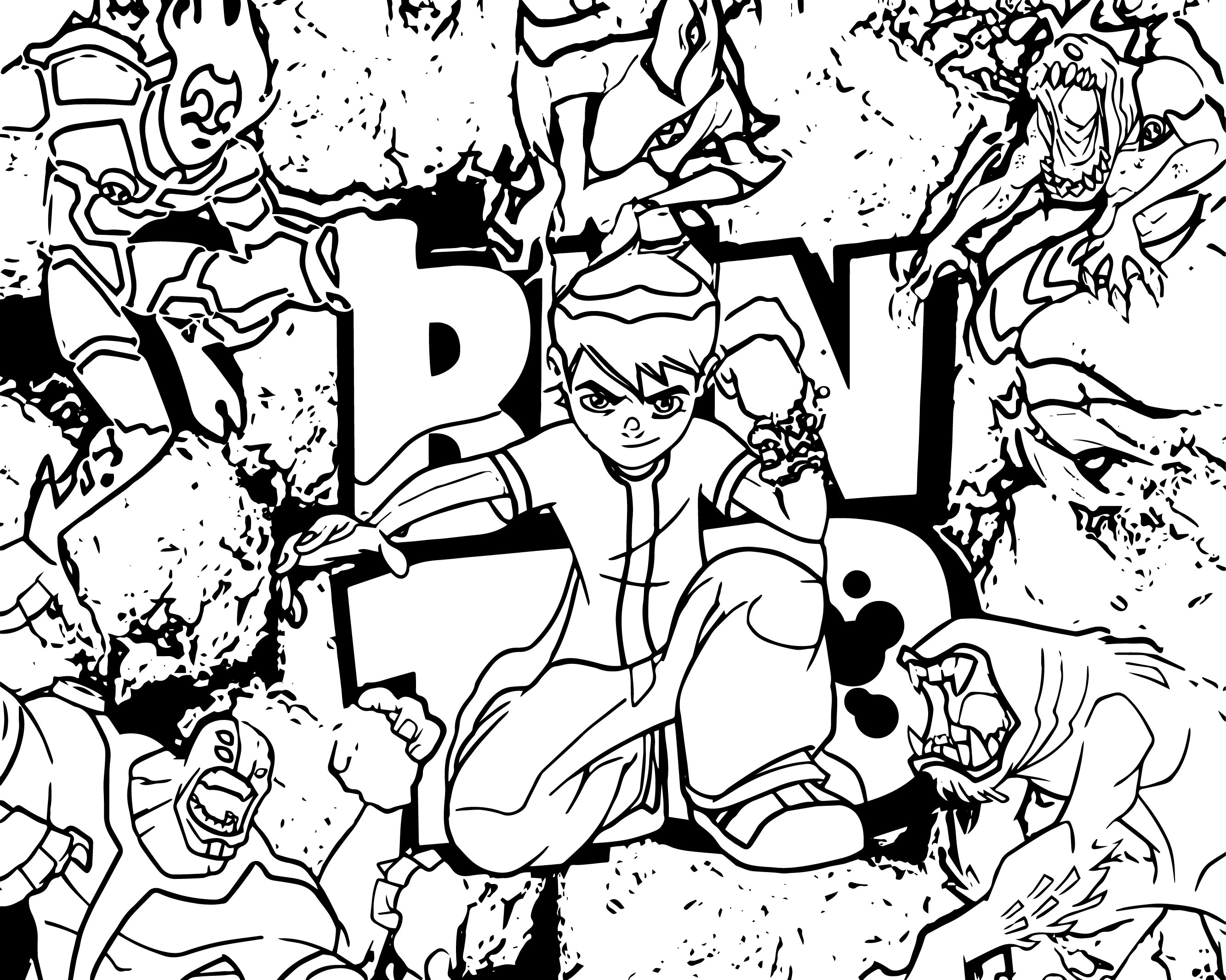 High Resolution Ben Ten Hd Coloring Page