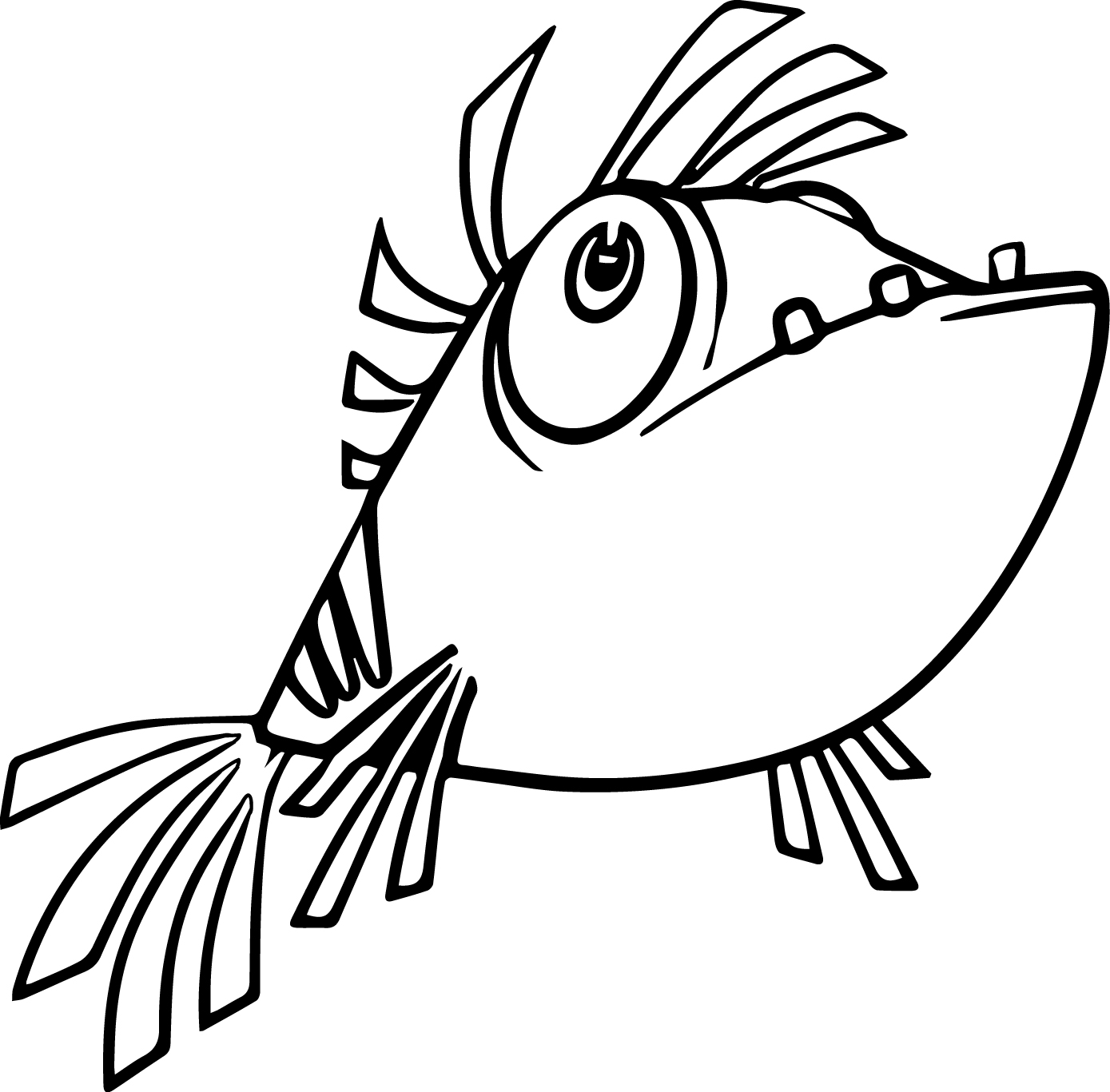 Hungry Cartoon Fish Coloring Page Sheet