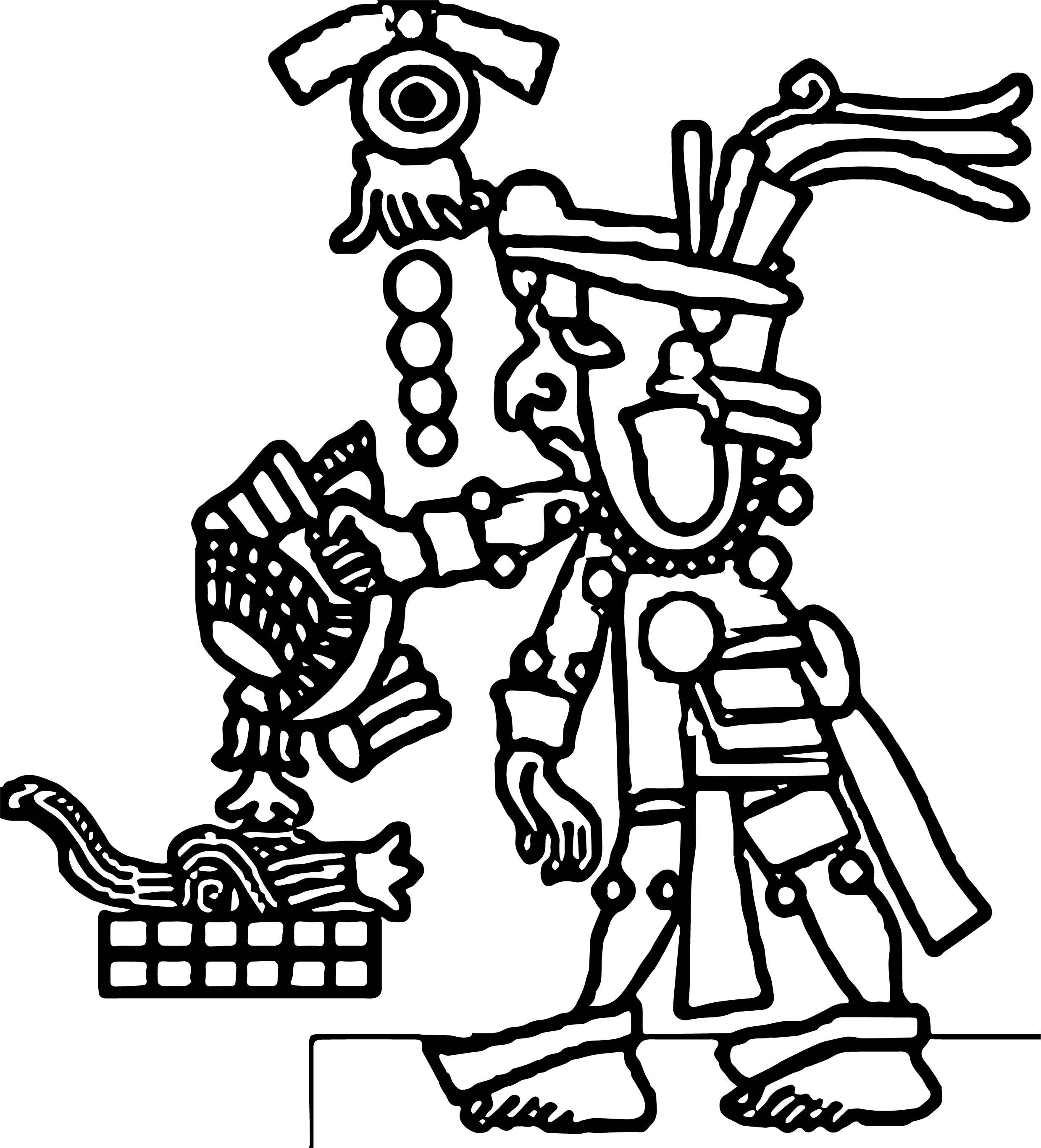 Image aztec coloring page for Aztec sun coloring page