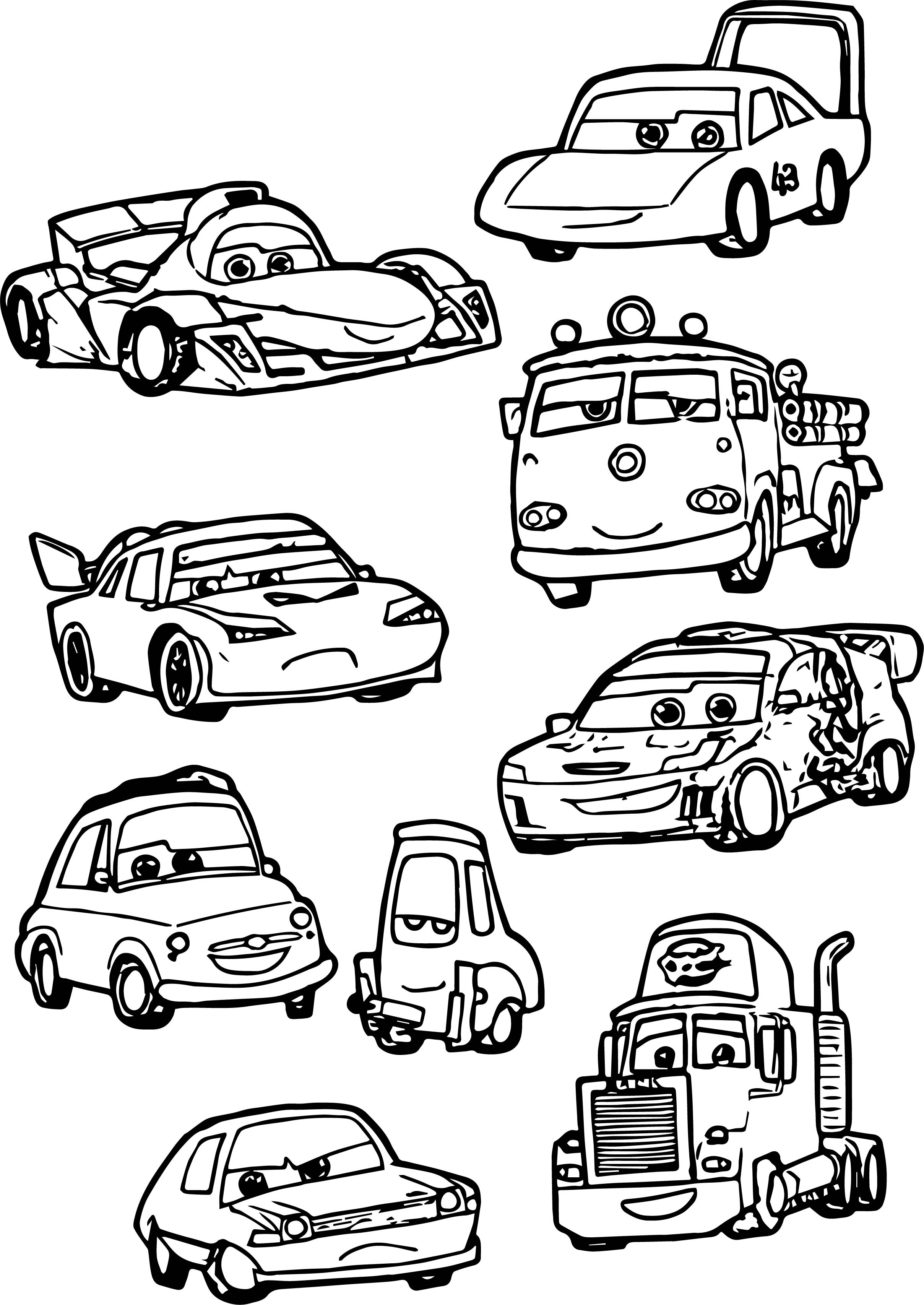 Just Chibi Cars Characters Coloring Page | Wecoloringpage.com