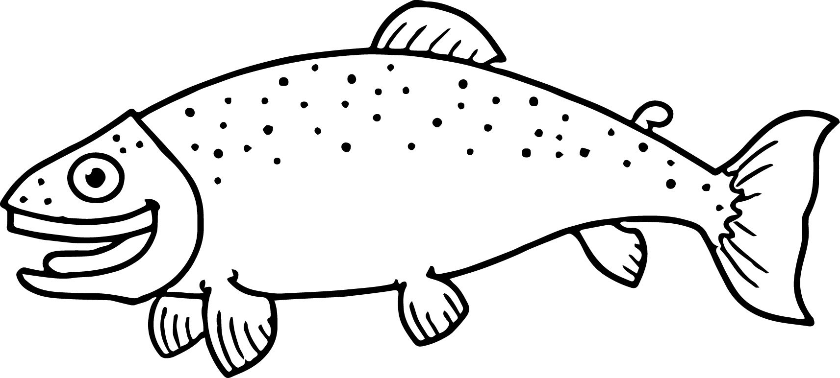 Little Happy Cartoon Fish Coloring Page Sheet
