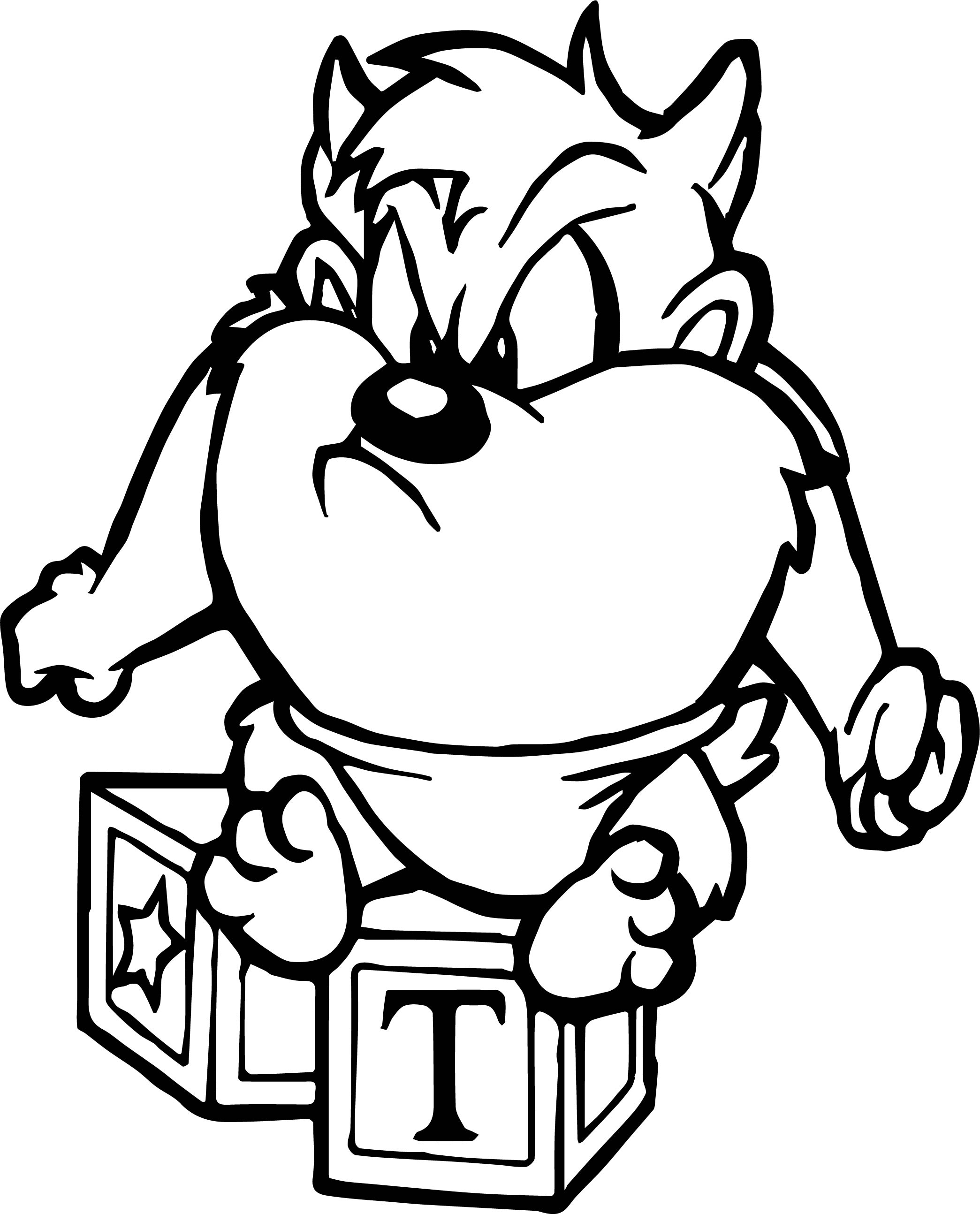 Looney tunes baby tasmania coloring page for Baby looney tunes taz coloring pages