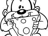 Looney Tunes Baby Tasmania Eating Pizza Coloring Page