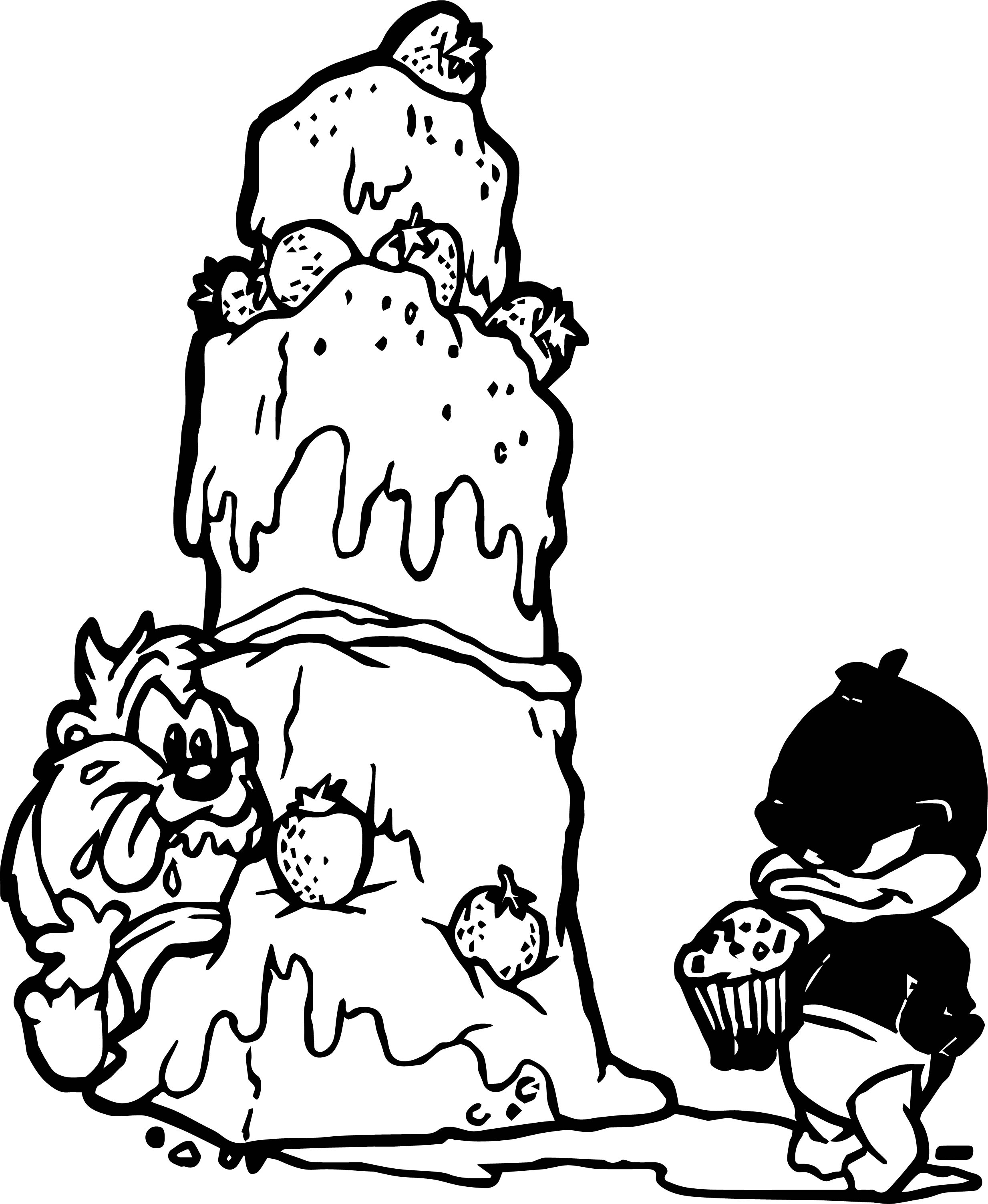 Looney Tunes Cake And Cupcake Coloring Page