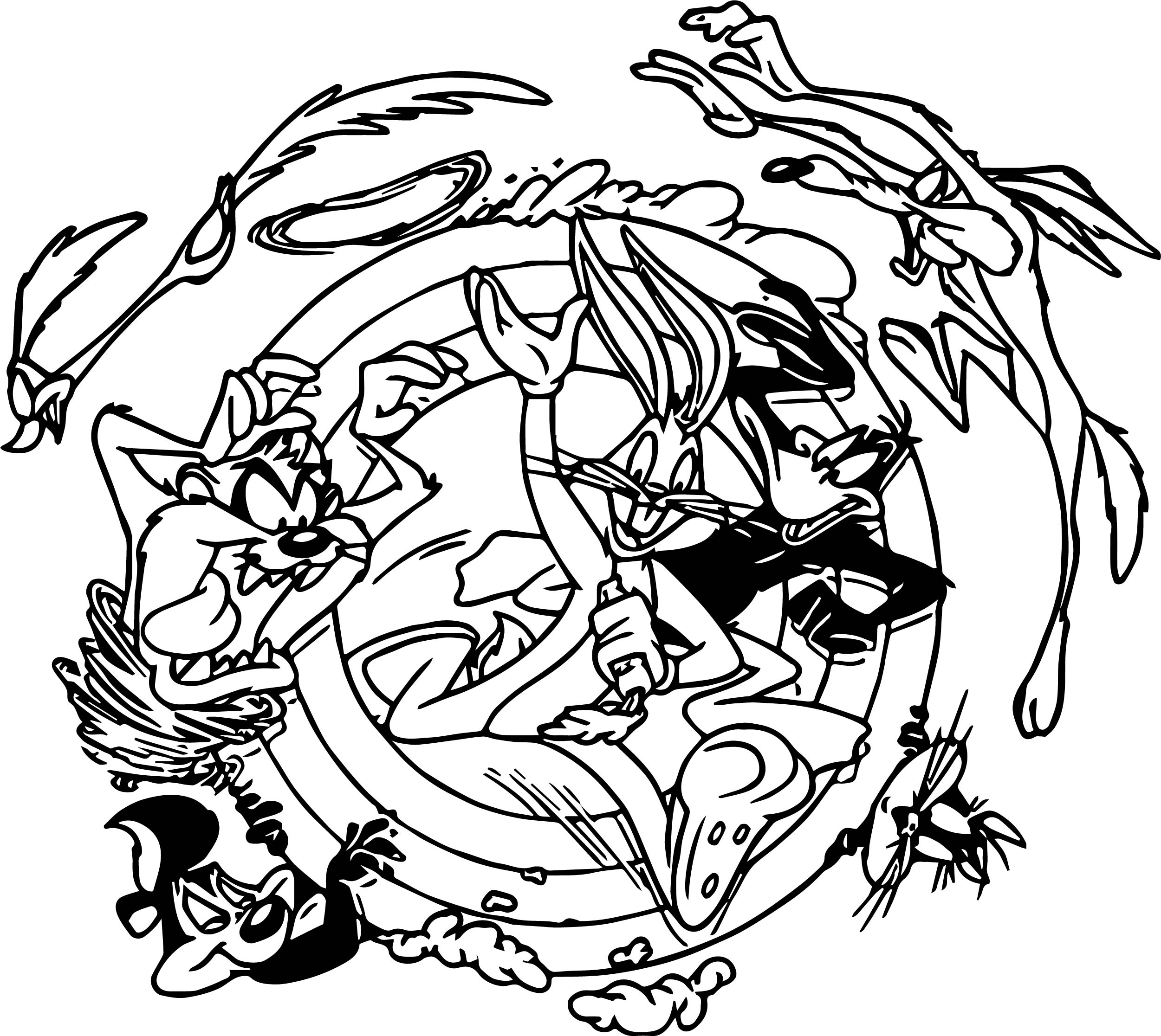 Looney tunes circle coloring pages for Coloring pages looney tunes