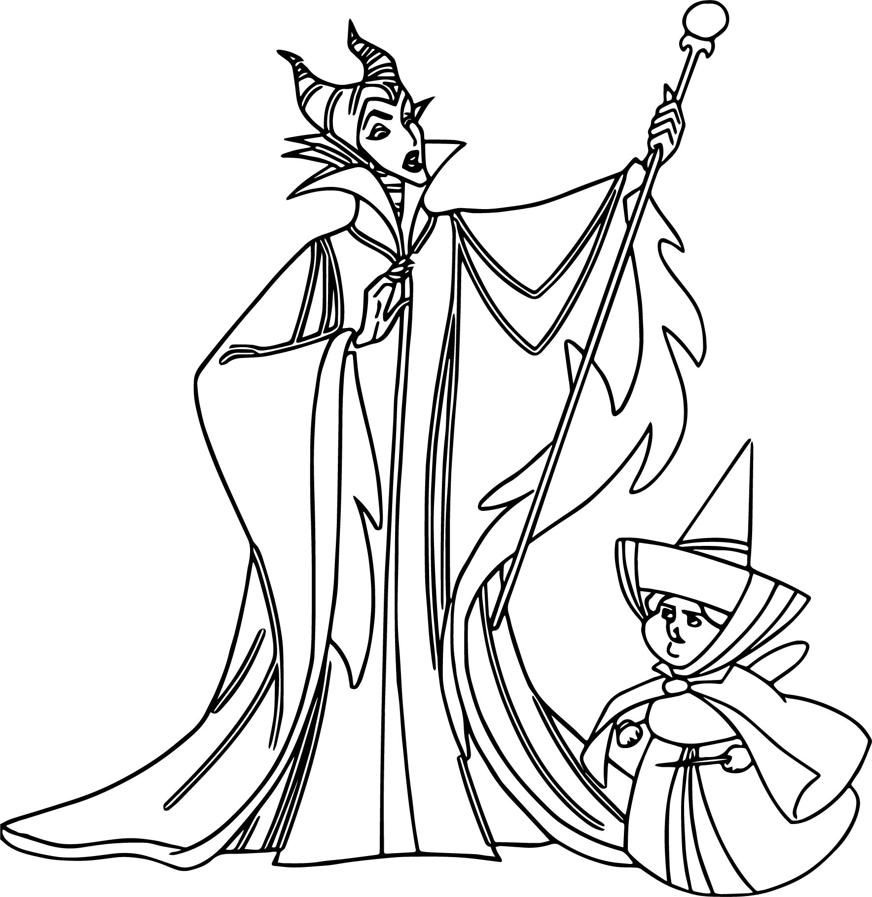 Maleficent merry weather coloring page for Maleficent coloring pages