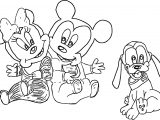 Mickey Minnie And Baby Pluto Coloring Page