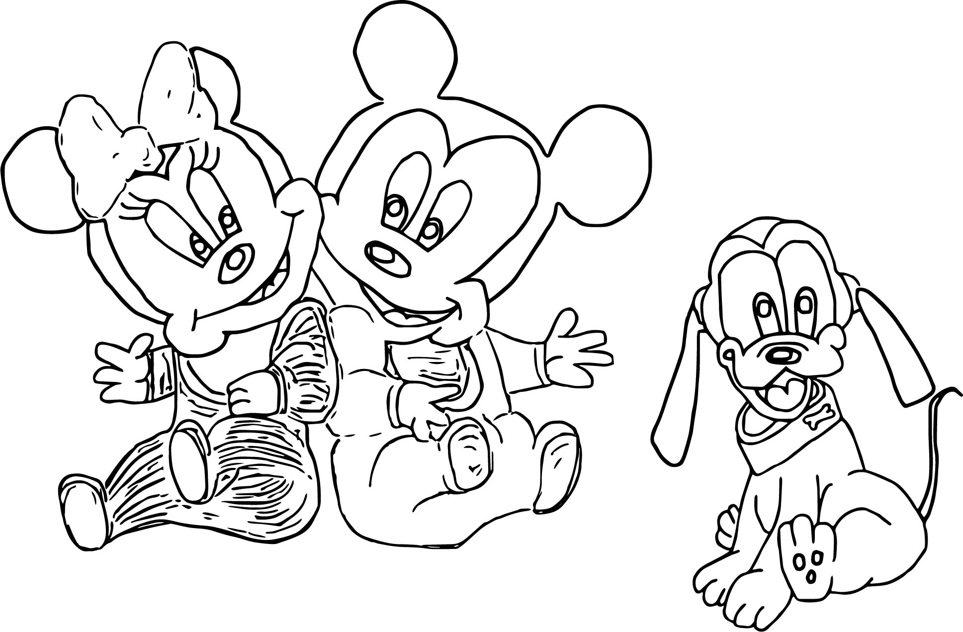 Mickey minnie and baby pluto coloring page for Pluto coloring pages