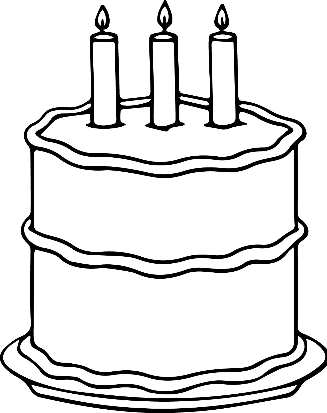 Middle Birthday Cake Coloring Page | Wecoloringpage.com